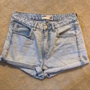 Garage High-Waisted Acid Washed Jean Shorts